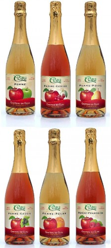 pétillant,sans alcool,fruit,pomme,cassis,cerise,poire,pêche,framboise,château du clau,jus de fruit